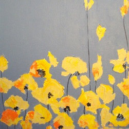 """""""Yellow Cali beauties""""  (Original) by Devika Keskar - Poppies are one of my favorite subjects to paint!  I have the privilege of being able to sit in my sunny studio and look out into my backyard and paint these beauties while they sway every year in little patches between my larger trees and shrubs."""