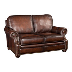 Hooker Leather Upholstery - Hooker Furniture Loveseat SS185-02-089 - The 185 model... Sit down and enjoy a beautiful traditional group, features include scooped arm detail with accented brass nail head trim and bun feet.
