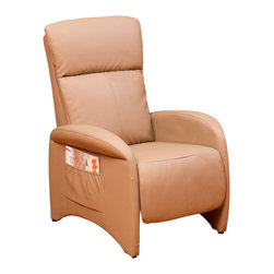 Great Deal Furniture - Royce Leather Recliner, Tan - The Royce Recliner is a perfect piece for any room in your home. This chair exudes luxury and comfort when both upright and in the reclining position while the smooth bonded leather adds sophistication, giving you style with no cost to relaxation potential.
