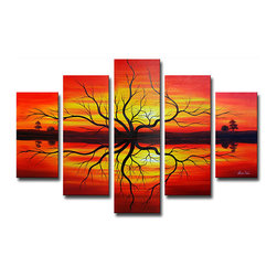 None - 'Sunset Reflections' Hand-painted Canvas Art - Add a brilliant centerpiece to your home or office with this 5-piece sunset painted canvas art set. This set features five panels that depict a spectacular sunset in red, yellow, and orange that contrasts with a silhouetted landscape.