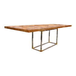 """Jonathan Adler - Jonathan Adler Bond Dining Table - Tough in style and easy on the eye, the Bond dining table measures up to its iconic, suave namesake. Jonathan Adler partners stainless steel and burled wood for a touch of glamour to its minimal modern lines. 80/100""""W x 40""""D x 31""""H; Pieced burled wood on stainless steel base; Removable 20"""" leaf; Assembly required"""