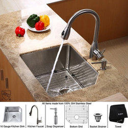 Kraus - 23 in. Single Bowl Kitchen Sink with Faucet and Soap Dispenser - Add an elegant touch to your kitchen with unique Kraus kitchen combo