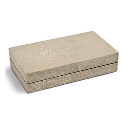 Kathy Kuo Home - Destin Coastal Beach Ivory Grey Shagreen Rectangle Decorative Box - Small - Low and lean, this shagreen-covered box adds a Coastal Beach accent to a dresser, table or nightstand. Rich and vibrant, the textured grey finish is uniquely patterned and shaded. It is the perfect place for your personal treasures.
