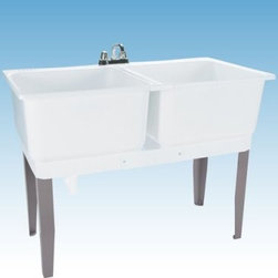 Mustee 24C Double Basin Floor Mount Utility Sink Combo - The Mustee 24C Double Basin Floor Mount Utility Sink Combo makes a perfect place to bleach a whole load of whites or hand-wash your delicates. Perfect for large family, this set of dual 20-gallon 13-inch deep tubs made from thermoplastic resin and featuring an integrated leak-proof drain (with a stopper). The tubs are connected by a molded divider strip and supported by heavy-gauge steel legs. Installation hardware is included. The unit is fitted for a 4-inch diameter faucet (not included).About Trumbull IndustriesFounded in 1922 as a single branch plumbing supply house, Trumball Industries has evolved over the years in to a privately held corporation and full-line distributor with specialized divisions. With 6 branch locations, Trumball Industries has several divisions: an Industrial Division that provides products and services to industrial manufacturers, a Home Center Division that offers expertise in all major kitchen and bath products, a Municipal Division that offers a full line of water and sewer products, and a Master Distribution Center with 500,000 square feet housing over 80,000 products. Aside from providing quality services to their customers, the people at Trumbull Industries are happy provide a tour of any of their facilities as well as assist you with any design, layout, or purchasing decisions.