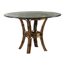 Lexington - Henry Link Barbosa Dining Table Base - Custom designed decorative base in leather-wrapped rattan. Will accommodate a 48 or 54 in. glass top. Finish: Medium Tortoise Shell.
