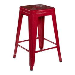 Linon - Linon Square Metal Counter Stool in Red (Set of 2) - Linon - Bar Stools - K03241RED02ASU