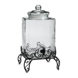 Circle Imports, Inc. - Verona 610-Ounce Beverage Dispenser - Verona Beverage Dispenser combines high capacity storage with a hammered glass design that's perfect for serving beverages at large parties and catered events.