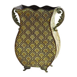 Nearly Natural - Venetian Verdigris Planter - Intricate pattern. Made from metal. Green color. 9.75 in. L x 9.75 in. W x 11.25 in. HSometimes, a vase is so pretty, you can leave it empty and still have an exceptional decoration. That's the case with this green floral vase with two twisting handles to complement the look. Buy one for yourself and another as a gift. Makes a great gift.
