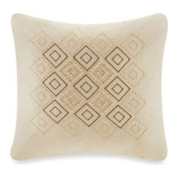 Harbor House - Harbor House Castle Hill Square Toss Pillow - The Castle Hill square toss pillow is decorated with beautiful embroidery and wood beading on a linen-cotton fabric, making it the perfect way to add color and texture to your bedding ensemble.