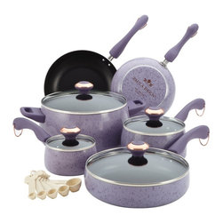 Paula Deen - Paula Deen Signature Porcelain 15 Piece Cookware Set - Lavender - 13064 - Shop for Cookware Sets from Hayneedle.com! Speckled lavender and copper accents mean the Paula Deen Signature Porcelain 15 Piece Cookware Set - Lavender looks as good as it cooks. This set is the perfect starter for any stylish kitchen because it includes essential pots pans and lids. The pots and pans are made of heavy-gauge aluminum with non-stick coatings and double-riveted handles. They're oven-safe to 350 degrees F and some include clear glass lids. A handy measuring spoon set completes it perfectly.Set Includes:(1) 1-qt. covered saucepan(1) 2-qt. covered sauce pan(1) 2.75-qt. covered saute pan(1) 6-qt. covered stockpot(1) 8-in. skillet(1) 10-in. skillet5 measuring spoonsAbout Paula DeenSouthern cooking queen Paula Deen is known to millions as a popular TV show cooking host on the Food Network as well as a bestselling author. The Georgia native parlayed a home-based meal delivery service into her successful Lady and Sons restaurant in Savannah Ga. In 2008 Deen partnered with Meyer Corporation to launch a line of signature cookware bakeware kitchen tools and accessories which are used by home cooks everywhere.