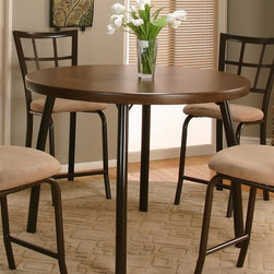 Sunset Trading - 45 in. Pub Table - Stools not included. Contemporary style. Formica top and steel frame. Everlasting design. Warranty: One year. Brown color. Made in USA. Assembly required. 45.25 in. Dia. x 34.5 in. H (55.29 lbs.)This beautifully designed furniture supplied by Sunset Trading will assure you many years of use and enjoyment. Comfortably casual yet sophisticated, the Gunstock Pub Set from Sunset Trading is perfect for dining and entertaining with your family and friends. Versatile for use in your dining area, family room or media/game room.
