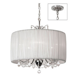 Dainolite - Dainolite 5LT Crystal Chandelier - 5 Light Crystal Chandelier, Polished Chrome, White Organza Shade
