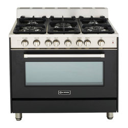 "Verona 36"" Gas Range - Verona 36"" Gas Range.  Features a convection oven with Infrared Broiler.  5 high BTU sealed burners with removable cast-iron grates and caps.  Full-width storage compartment."