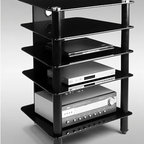"RTA Home And Office - AVM 5 Shelf Audio Rack - Organize all of your high tech, state of the art, home electronics gear with this elegant, polished aluminum audio stand. This rack features five thick (8 mm) tempered glass shelves that will provide ample space to store each of your audio and gaming components, DVD and VCR players, while a discrete cord management system will reduce the presence of unsightly wires. Features: -Versatile and space efficient.-Elegant professional design.-Incorporates cable management.-Thick 8 mm tempered clear glass.-Has a weight capacity of 85 lbs.-AVM Audio Rack collection.-Number of Shelves: 5.-Distressed: No.Dimensions: -Assembled Dimensions Height: 34"".-Assembled Dimensions Width: 24"".-Assembled Dimensions Depth: 20.25"".-Assembled Weight: 94 lbs.Warranty: -Carries a 1 year warranty against defects."