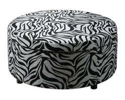 Uttermost - Uttermost 23149  Zea Zebra Storage Ottoman - Generous storage with padded, lift-off top suitable for extra seating. wooden frame with zebra patterned tapestry and espresso wooden feet.