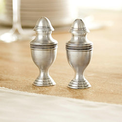Ballard Designs - Heirloom Salt & Pepper Shaker Set - Food safe. Hand wash only. Crafted of brass. Antique silver finish produces a warm patina. Your secret is safe with us. Each piece in our Heirloom Table Collection recreates the timeworn look of an antique that has been passed down from generation to generation - no one will know the difference. Salt & Pepper Shakers make a timeless addition to any table setting. Monogram available. Heirloom Salt & Pepper Shakers features: . . . .