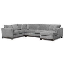 """Kenton Fabric Sectional Sofa, 3 Piece 138""""W x 94""""D x 33""""H: Custom Colors - Secti"""