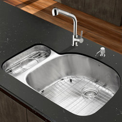 """Vigo - All in One 32"""" Undermount Stainless Steel Kitchen Sink and Faucet Set - Enhance the look of your kitchen with a VIGO All in One Kitchen Set featuring a 32"""" Undermount kitchen sink, faucet, soap dispenser, matching bottom grids and strainers.; The VG3321R double bowl sink is manufactured with 18 gauge premium 304 Series stainless steel construction with commercial grade premium satin finish; Fully undercoated and padded with a unique multi layer sound eliminating technology, which also prevents condensation.; All VIGO kitchen sinks are warranted against rust; Exterior Measures: 31 3/4""""W x 21""""D; Larger bowl's interior dimension: 21 1/2""""W x 19""""D; Smaller bowl's interior dimension: 7""""W x 14 1/4""""D; Bowl depth: 9"""" (larger bowl) and 5"""" (smaller bowl); Required interior cabinet space: 34""""; Kitchen sink is cUPC and NSF-61 certified by IAPMO; All mounting hardware and cutout template provided for 1/8"""" reveal or flush installation; The VG02019ST kitchen faucet features a dual function pull-out spray head for aerated flow or powerful spray, and is made of solid brass with a stainless steel finish.; Includes a spray face that resists mineral buildup and is easy-to-clean; High-quality ceramic disc cartridge; Retractable 360-degree swivel spout expandable up to 30""""; Single lever water and temperature control; All mounting hardware and hot/cold waterlines are included; Water pressure tested for industry standard, 2.2 GPM Flow Rate; Standard US plumbing 3/8"""" connections; Faucet height: 13 7/8''; Spout reach: 8 1/2''; Kitchen faucet is cUPC, NSF-61, and AB1953 certified by IAPMO.; Faucet is ADA Compliant; 2-hole installation with soap dispenser; Soap dispenser is solid brass with an elegant stainless steel finish and fits 1 1/2"""" opening with a 3 1/2"""" spout projection.; Matching bottom grid are chrome-plated stainless steel with vinyl feet and protective bumpers.; Sink strainers are made of durable solid brass in chrome finish; All VIGO kitchen sinks and faucets have a Limited """