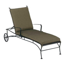 "Woodard - Woodard Bradford Adjustable Chaise Lounge with Cushion - WD260 - Shop for Chaise Lounges from Hayneedle.com! The Woodard Bradford Adjustable Chaise Lounge with Cushion is your best bet for relaxing in style! The backrest on this unique lounger is adjustable and locks into position so you're comfortable whether you're sitting or lying back.This chaise lounge is constructed by expert craftsmen using traditional hammer and anvil techniques. The heaviest available solid wrought iron stock is used along with the best tubular steel to ensure the strongest possible outdoor furniture. The frame is electronically coated to create a permanent seal that locks out rust.Finished with the highest-quality powder-coat paint finish for durability and lasting beauty the Bradford is available in your choice of colors and cushions (click the ""More Information"" link below for details). This item is built especially for you when you place your order.Cushion Dimensions: Back Dimensions: 26.8L x 21.8W x 3H inchesSeat Dimensions: 48L x 22.5W x 3H inchesImportant NoticeThis item is custom-made to order which means production begins immediately upon receipt of each order. Because of this cancellations must be made via telephone to 1-800-351-5699 within 24 hours of order placement. Emails are not currently acceptable forms of cancellation. Thank you for your consideration in this matter.Hand-crafted to Withstand the Test of TimeFor over 140 years Woodard craftsmen have designed and manufactured products loyal to the timeless art of quality furniture construction. Using the age-old art of hand-forming and the latest in high-tech manufacturing Woodard remains committed to creating products that will provide years of enjoyment.Superior Materials for Lasting DurabilityEach piece in the Classics Collection is hand-formed using solid wrought iron stock: the heaviest available. The technique used to create Woodard wrought iron furniture has been handed down from generation to generation. To this day expert workers use anvils and hammers to forge intricate detail in the iron.Fabric Finish and Strap Features All fabric finish and straps are manufactured and applied with the legendary Woodard standard of excellence. Each collection offers a variety of frame finishes that seal in quality while providing color choices to suit any taste. Current finishing processes are monitored for thickness adhesion color match gloss rust-resistance and proper curing. Fabrics go through extensive testing for durability and application as well as proper pattern weave and wear."