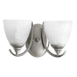 Quorum - Powell 2-Light Wall Sconce Classic Nickel - This Powell 2-Light Wall Sconce by Quorum features an Classic Nickel finish, that will bring a terrific look to any bathroom.