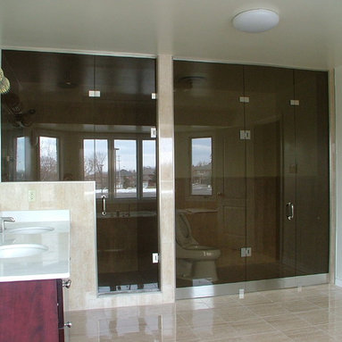 Custom Shower enclosure - separate shower/toilet with glass and hardware
