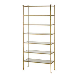 Currey and Company - Currey and Company Delano Etagere - Tall X-2314 - The Delano Collection pays homage to decorator Billy Baldwin with Etagere and occasional tables. With a gold leaf frame and glass shelves, the Delano Etagere is an elegant place to display precious collections and books. Inspired by Mr. Baldwins Porter Etagere, the Delano is classic and will always be au courant. Glass shelves compliment the gold leaf minimal frame. The solid bar frame is accentuated with an abstract detail in the foot.