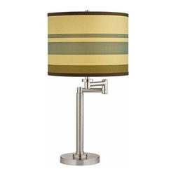 Design Classics Lighting - Swing-Arm Table Lamp with Drum Shade - 1902-09 SH9542 - Satin nickel finish adjustable table lamp with striped drum shade. Swing arm has a maximum 9-inch extension. Takes (1) 100-watt incandescent A19 bulb(s). Bulb(s) sold separately. UL listed. Dry location rated.