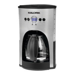 Kalorik - Programmable Coffee Maker, Stainless Steel/Black - Nothing is better than waking up to freshly brewed coffee. A programmable coffee maker is a total game-changer in the mornings. And this one will turn itself off within two hours of brewing, so there's less to worry about in the morning rush to get out the door.