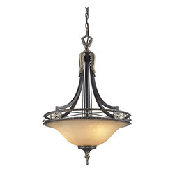 "Elk Lighting - Elk Lighting 2427/3 Georgian Court Traditional Inverted Pendant Light - During The Mid-Eighteenth Century, The Georgian Style Became Immensely Popular, Not Only In England, But Also In Colonial America.  The ""Colonial"" Home Was Influenced By The Georgian Style, Characterized By A Sense Of Proportion, Balance, And Carefully Thought Out Details.  Furniture And Objects Of The Time Were Of A Larger Scale, Yet With A Lighter Feeling Than Earlier Periods. This Lighter Feeling Transmitted Grace, Elegance, And Prominence, And Allowed Details To Become More Of The Focal Point, Rather Than The Principle Elements Of The Structure.  The Georgian Court Collection Reflects Those Earlier Influences With A Well-Balanced Proportions, Attractive Brass Finished Details, And Amber  Glass With A Marbleized Finish And Decorative Ring."