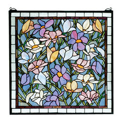 """Meyda Tiffany - 22""""W X 22""""H Sugar Magnolia Stained Glass Window - Spring Green branches against an Azure sky are filled with a beautiful array of colorful magnolias in Sugar Blue, Honey, Pink and Violet. Made with 570 pieces of hand cut and copper foiled stained art glass, this Meyda Tiffany original design is a true charmer. A solid brass hanging chain and brackets are included."""