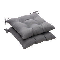Solid Gray Textured Outdoor Tufted Seat Cushions - For a quick and inexpensive change, add gray seat cushions to your dining room chairs.