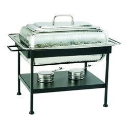 Rectangular Stainless Steel Chafing Dish - Nickel - This Stainless Steel Chafing Dish from Old Dutch International is an elegant rectangular chafing dish for serving buffet style meals to guests at dinner parties and family gatherings. Featuring sturdy stainless steel construction with beautiful polished nickel plating, this Old Dutch chafing dish has two adjustable gel fuel holders to allow you to keep dishes heated to the appropriate temperature for hours at a time.