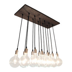 Urban Chandy - Chic Urban Chandelier - This handmade chandelier makes artistic use of simple industrial-style materials for a unique, urban-chic lighting fixture. Twelve large globe-style bulbs hang bared and shining on long black wires from a gray-stained plank of reclaimed wood. Mount the plank flush with the ceiling or, for a longer pendant look, suspend the fixture down a few feet.