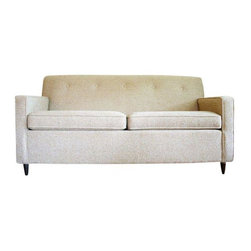 Pre-owned Mid Century Modern Ivory Tweed Sleeper Sofa - Comfortable, mint condition, vintage 1950s/1960s convertible loveseat. Boxy, minimalist form with original bone colored tweed upholstery in fantastic condition! Tufting along the back edge adds visual interest and vintage charm.    The original cushions are dense and firm, still maintaining their shape after all these years. No crumbling or deterioration to foam. Ample cushioning makes it practical for today�۪s use. The sofa stands sturdy on low profile dark walnut tapered feet making it just the right height. Remove the cushions and quickly convert this stylish sofa into a bed, with a mattress that has been barely used.    This is another time capsule piece, as it did not see much use over the years. Add a couple of throw pillows to tie-in with your decor. Neutral sofa color makes this piece versatile and transferable. Perfect for a guest room or office with added sleeping space, or finish off any room with style with this clean ans comfortable sleeper sofa!