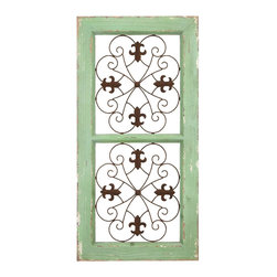 "Benzara - Traditional Metal and Wooden Wall Panel in Rustic Finish - A perfect alternative when it comes to paintings or wall-hanging pictures, this wooden and metal wall panel features a rustic look that makes it a must have. Flaunting fine attention to details, this wall panel showcases a combination of pistachio green and brown, which adds to the aesthetic appeal. The durable wood and high quality metal used in the manufacture ensures long lasting performance, making it an excellent addition to your home decor. Resilient and long-lasting, this wall panel will not only look good on your own walls but will also serve well as a house-warming gift. It comes with a dimension of 31"" H x 16"" W x 1"" D."