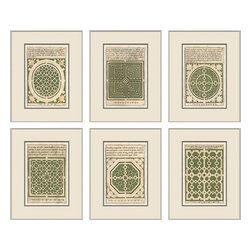 Soicher-Marin - Garden Plans, Set of 6, Green - Giclee print with a silver  contemporary wood frame with off white mat insert.  Includes glass, eyes and wire.  Made in the USA. Wipe down with damp cloth