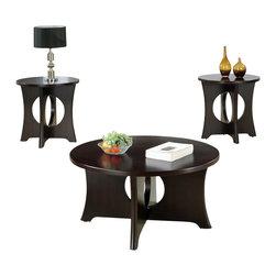 Monarch Specialties - Monarch Specialties I 7831P Dark Espresso Veneer Top 3 Piece Coffee Table Set - Cocktail Table (1), End Table (2)
