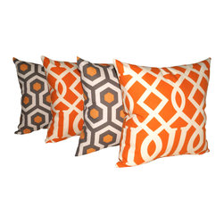 Land of Pillows - Magna Cinnamon and Kirkwood Sedro Orange Set of 4 Decorative Throw Pillows, 20x2 - Fabric Designer - Richloom