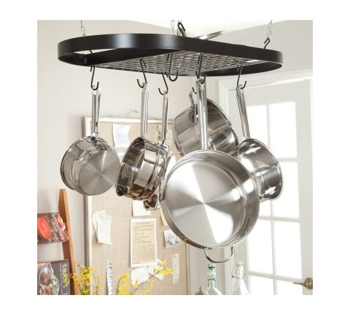 Kinetic Wrought Iron Oval Pot Rack - Black - Rack up some serious style points with the Kinetic Wrought Iron Oval Pot Rack - Black. Durable wrought iron construction in a classic black finish gives your kitchen a timeless yet modern look. A 40-pound capacity organizes your pots and pans so you can see them at a glance while saving valuable cabinet space.