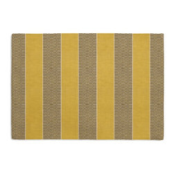 Yellow & Taupe Stripe Custom Placemat Set - Is your table looking sad and lonely? Give it a boost with at set of Simple Placemats. Customizable in hundreds of fabrics, you're sure to find the perfect set for daily dining or that fancy shindig. We love it in this modern checked stripe of taupe & white against mustard. so hot, it's electric!