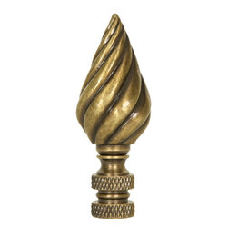 LampsUSA Finials - Twisted Cone Antique Metal B229A - A new lamp finial is the perfect way to complete your new or favorite lamp. All finials have a standard 1/4-27 thread--which will fit the harp on almost every lamp.