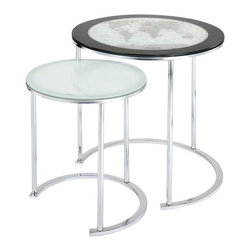 Powell - Powell World Map Printing Set of 2 Nesting Tables X-662-249 - The World Map Nesting Tables save space while at the same time enhance the look of your room.  Each table features a glass top and chrome plated base for a modern look.  The larger of the two features an beautiful map design and dark black border.  The nesting tables provide extra table space in an instant and conveniently slide underneath each other for easy storage and space saving convenience. Some assembly required.