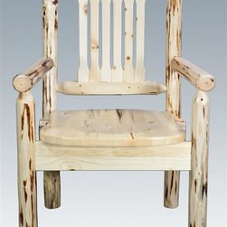 """Montana Woodworks - Wooden Captains Chair - Handcrafted using small diameter lodge pole logs. Heirloom quality. Skip-peeled by hand using old fashioned draw knives. Lodge pole pine legs and spindles. Standard, ergonomically designed wooden seat. Slat style back increases comfort. Made from solid U.S. grown wood. Made in USA. No assembly required. Seat height: 18 in.. Overall: 19 in. W x 18 in. D x 38 in. H (25 lbs.). Warranty. Ready to Finish. Use and Care InstructionsPlaced at the head of the table or used all around, these chairs are sure to please the """"Captain"""" of your table!"""
