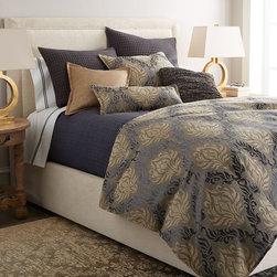 """Horchow - King Catalina Steel Blue Quilt 105"""" x 95"""" - King Catalina Steel Blue Quilt 105"""" x 95"""""""