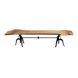 Mendocino Live Edge Table - The Mendocino Table is a stunning centerpiece for any dining area, conference room, restaurant or bar. Each table is one of a kind and is constructed with an antique black iron base and a single live-edge board of sustainably harvested mango wood as its dining surface. The industrial crank mechanism raises the whole piece from table to bar height. As durable as it is beautiful, the Mendocino is a great conversation piece and a functional work of art. At nearly 12 feet long it comfortably seats 10.