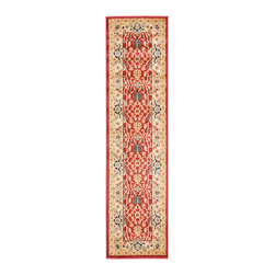 """Safavieh - Rowland Rug, Red / Creme 2'3"""" X 8' - Construction Method: Power Loomed. Country of Origin: Turkey. Care Instructions: Vacuum Regularly To Prevent Dust And Crumbs From Settling Into The Roots Of The Fibers. Avoid Direct And Continuous Exposure To Sunlight. Use Rug Protectors Under The Legs Of Heavy Furniture To Avoid Flattening Piles. Do Not Pull Loose Ends; Clip Them With Scissors To Remove. Turn Carpet Occasionally To Equalize Wear. Remove Spills Immediately. The dramatic patterns of heirloom Serape, Sultanabad and Oushak rugs are recreated for 21st century lifestyles in the Austin Collection. Power-loomed of long-wearing, easy-care polypropylene, each rug stands up to heavy traffic while adding timeless beauty to entry hall, living room, kitchen and more."""