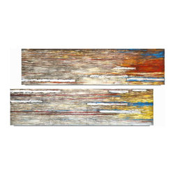 "Vertuu Design - 'Aurora' Artwork (Set of 2) - Bring vibrant color to your space with the ""Aurora"" Artwork. These hand-painted acrylic canvas paintings feature a blend of red, blue, yellow and brown tones. Silver leaf accents add texture and shine to the pieces. Display them among neutral design elements to create a dramatic contrast."