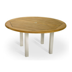 Westminster Teak Furniture - Vogue Teak and Stainless Steel 6ft Round Table - This round teak outdoor table makes seating arrangements elegant yet  easy and fun; no one needs to be at the head of the table! The 6 ft  tabletop is lined with Sikaflex between slats giving it the   practicality and grandeur of nautical style.