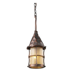 Elk Lighting - Elk Lighting Rustica Traditional Outdoor Hanging Light X-CA-883 - Bring Storybook Flair To An Old English, Cottage Or Spanish Revival-Style Home With The Rustica Collection. Hand-Hammered Iron And Scavo Seedy-Glass Cylinders Characterize This Series, Which May Be Ordered In Matte Black (Bk) With White Scavo Glass And Antique Copper (Ac) With Amber Scavo Glass.  They May Be Used In Both Indoor And Outdoor Locations.  (Ul Listed).
