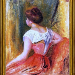 "Pierre Auguste Renoir-16""x20"" Framed Canvas - 16"" x 20"" Pierre Auguste Renoir Seated Young Woman framed premium canvas print reproduced to meet museum quality standards. Our museum quality canvas prints are produced using high-precision print technology for a more accurate reproduction printed on high quality canvas with fade-resistant, archival inks. Our progressive business model allows us to offer works of art to you at the best wholesale pricing, significantly less than art gallery prices, affordable to all. This artwork is hand stretched onto wooden stretcher bars, then mounted into our 3"" wide gold finish frame with black panel by one of our expert framers. Our framed canvas print comes with hardware, ready to hang on your wall.  We present a comprehensive collection of exceptional canvas art reproductions by Pierre Auguste Renoir."